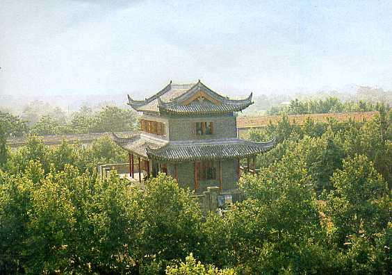 建于唐代的文通塔. 淮安县城